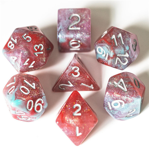 "Dice set ""Galaxy"" Blue, Red, Purple, White  !!! PRE-ORDER !!"